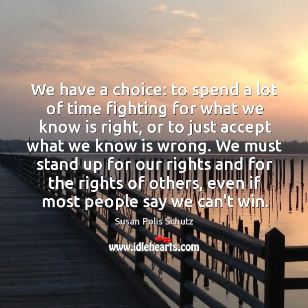 Image, We have a choice: to spend a lot of time fighting for