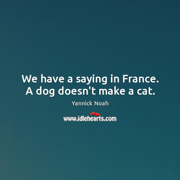 We have a saying in France. A dog doesn't make a cat. Image