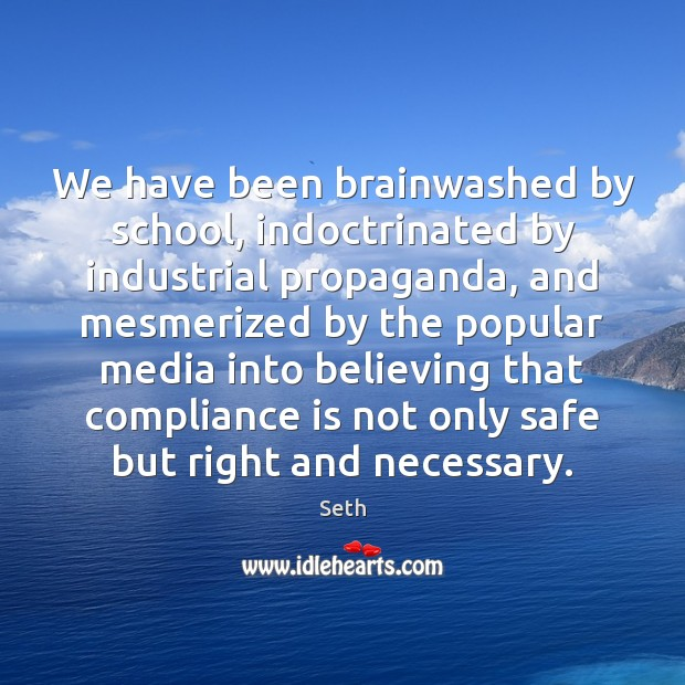 We have been brainwashed by school, indoctrinated by industrial propaganda, and mesmerized Seth Picture Quote