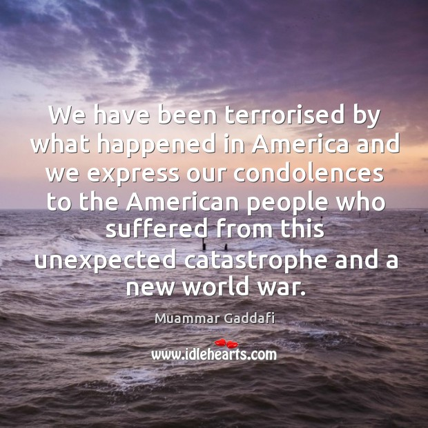 We have been terrorised by what happened in america and we express our condolences Image