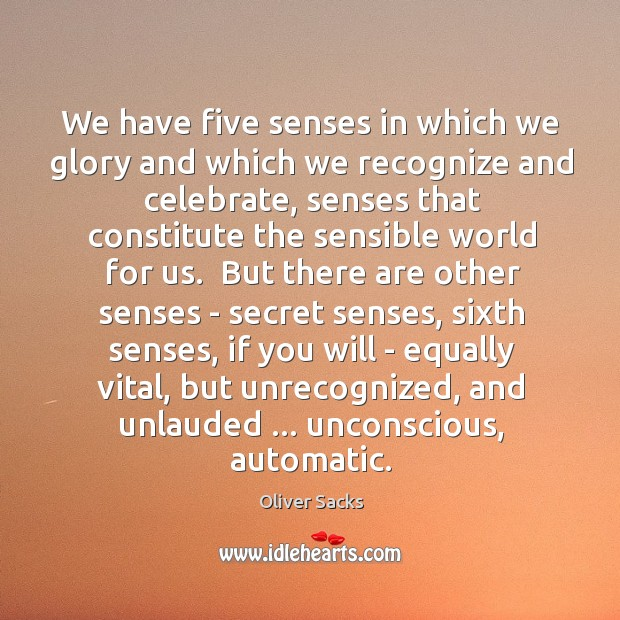 We have five senses in which we glory and which we recognize Image