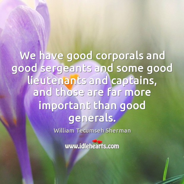We have good corporals and good sergeants and some good lieutenants and William Tecumseh Sherman Picture Quote
