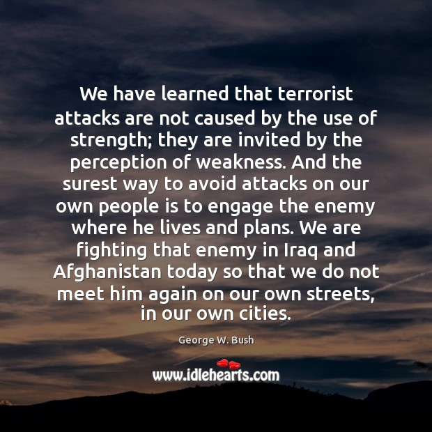 We have learned that terrorist attacks are not caused by the use Image