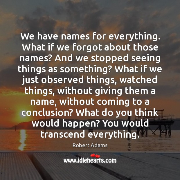 Image, We have names for everything. What if we forgot about those names?