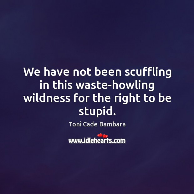 We have not been scuffling in this waste-howling wildness for the right to be stupid. Toni Cade Bambara Picture Quote