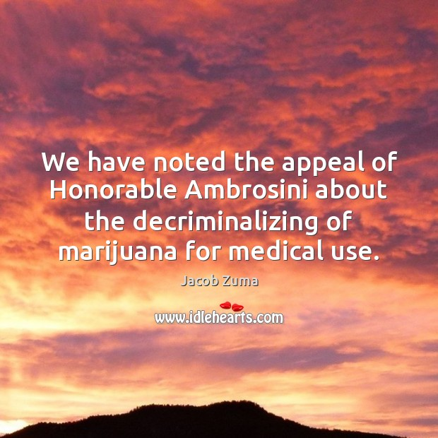 We have noted the appeal of Honorable Ambrosini about the decriminalizing of Medical Quotes Image