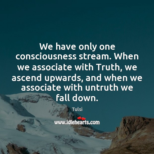 We have only one consciousness stream. When we associate with Truth, we Image