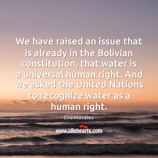 Image, We have raised an issue that is already in the Bolivian constitution,