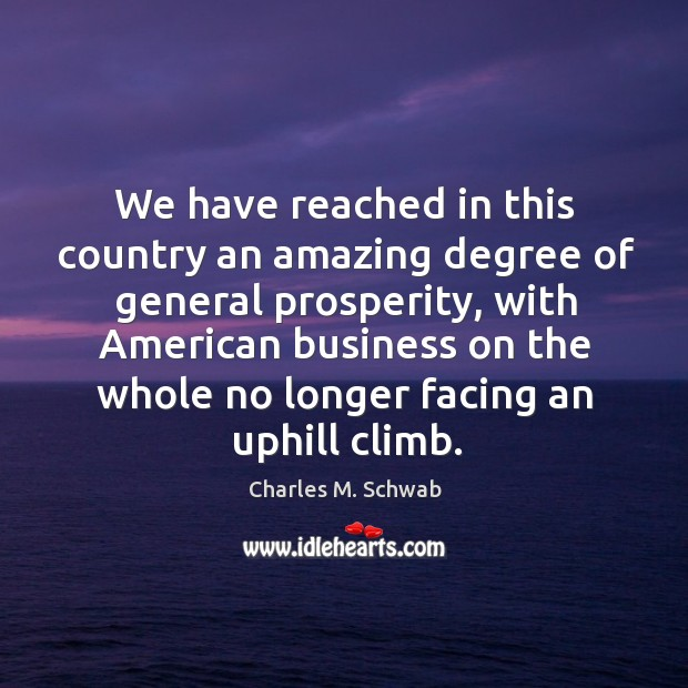 We have reached in this country an amazing degree of general prosperity, Charles M. Schwab Picture Quote