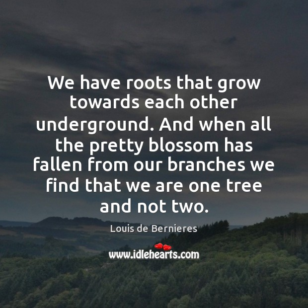 We have roots that grow towards each other underground. And when all Louis de Bernieres Picture Quote
