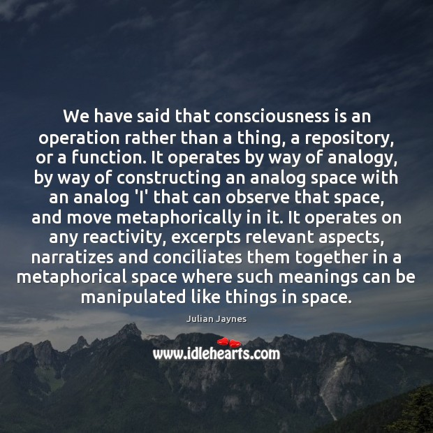 Image, We have said that consciousness is an operation rather than a thing,