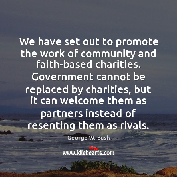 Image, We have set out to promote the work of community and faith-based