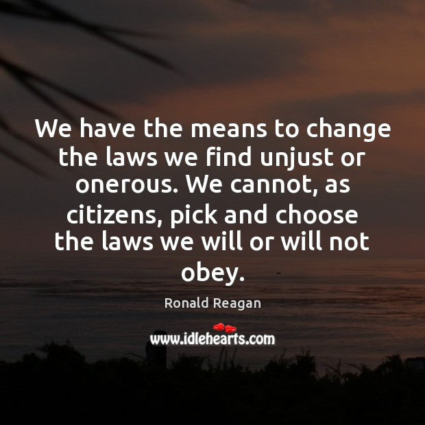Image, We have the means to change the laws we find unjust or