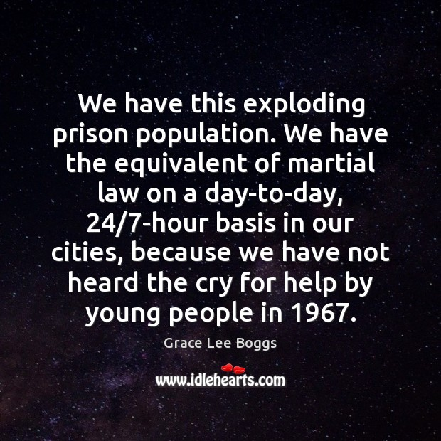 We have this exploding prison population. We have the equivalent of martial Image