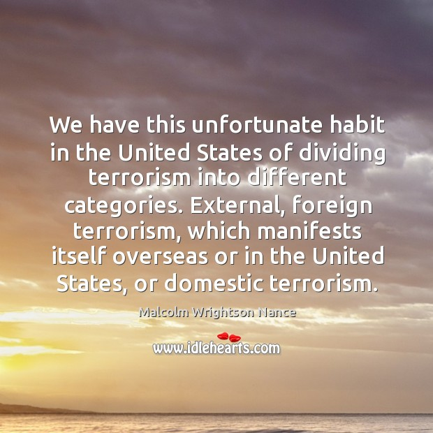 We have this unfortunate habit in the United States of dividing terrorism Image