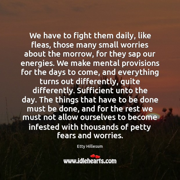 We have to fight them daily, like fleas, those many small worries Etty Hillesum Picture Quote
