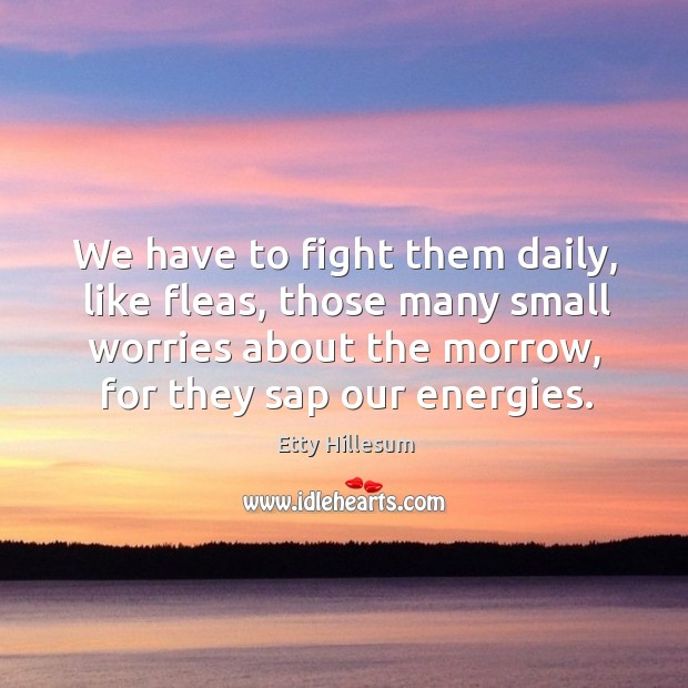 We have to fight them daily, like fleas, those many small worries about the morrow, for they sap our energies. Etty Hillesum Picture Quote