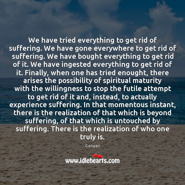 We have tried everything to get rid of suffering. We have gone Image