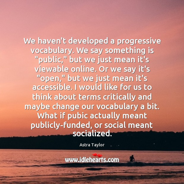 "Image, We haven't developed a progressive vocabulary. We say something is ""public,"" but"
