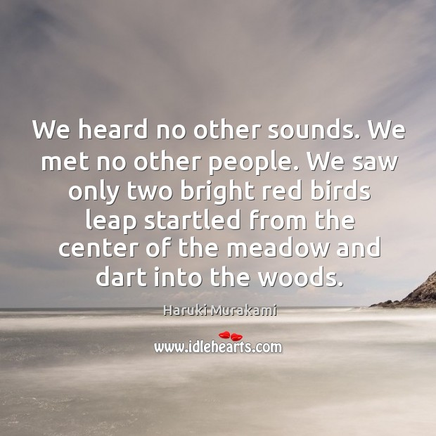 Image, We heard no other sounds. We met no other people. We saw