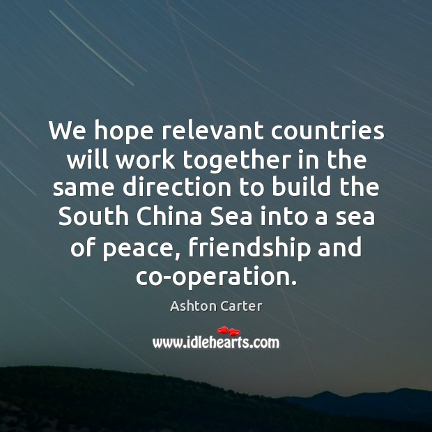 Image, We hope relevant countries will work together in the same direction to