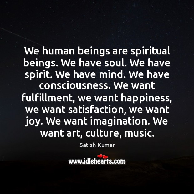 We human beings are spiritual beings. We have soul. We have spirit. Satish Kumar Picture Quote
