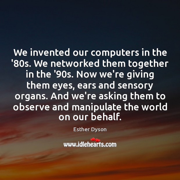 We invented our computers in the '80s. We networked them together Esther Dyson Picture Quote