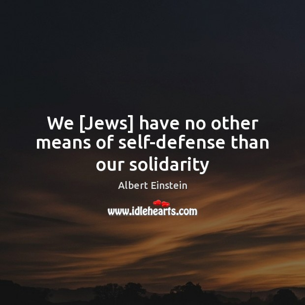 Image, We [Jews] have no other means of self-defense than our solidarity