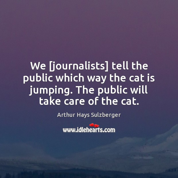 Image, We [journalists] tell the public which way the cat is jumping. The