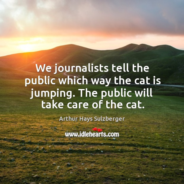 Image, We journalists tell the public which way the cat is jumping. The public will take care of the cat.