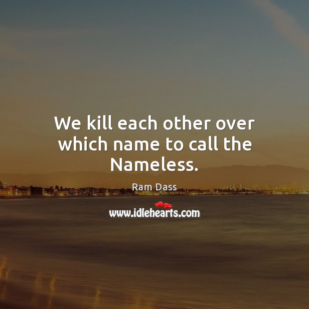 We kill each other over which name to call the Nameless. Ram Dass Picture Quote