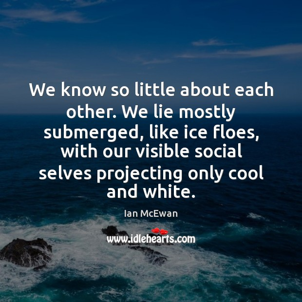 We know so little about each other. We lie mostly submerged, like Image