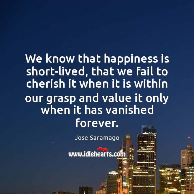 Image, We know that happiness is short-lived, that we fail to cherish it