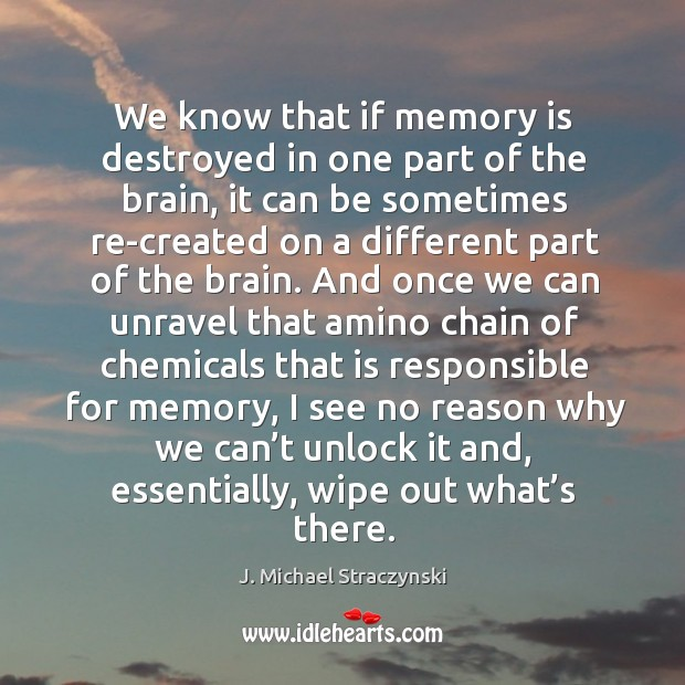 We know that if memory is destroyed in one part of the brain Image