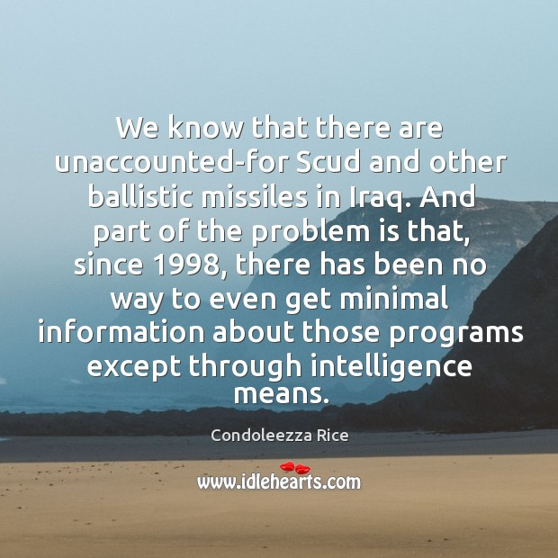 We know that there are unaccounted-for scud and other ballistic missiles in iraq. Image