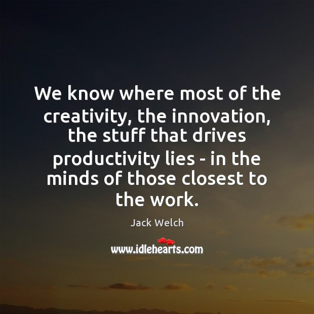 We know where most of the creativity, the innovation, the stuff that Image