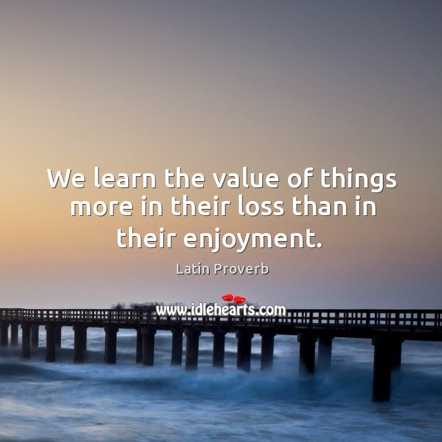 Image, We learn the value of things more in their loss than in their enjoyment.