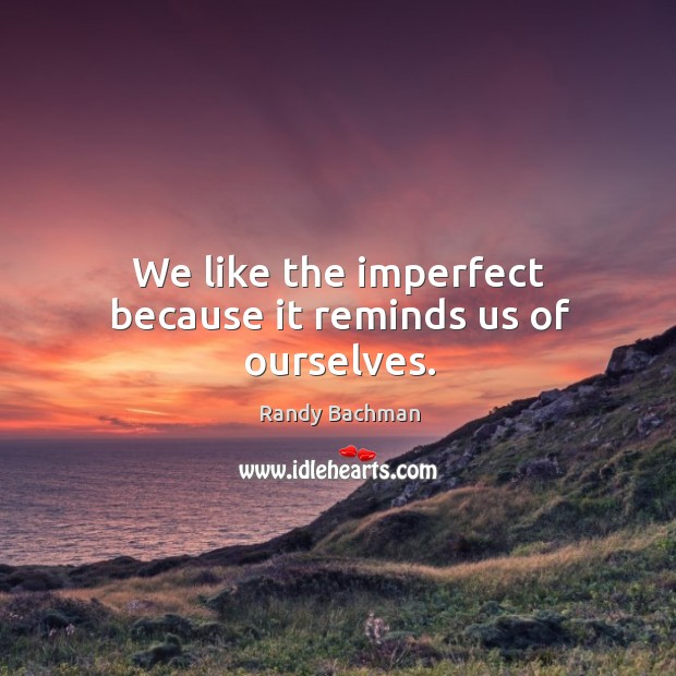 We like the imperfect because it reminds us of ourselves. Randy Bachman Picture Quote
