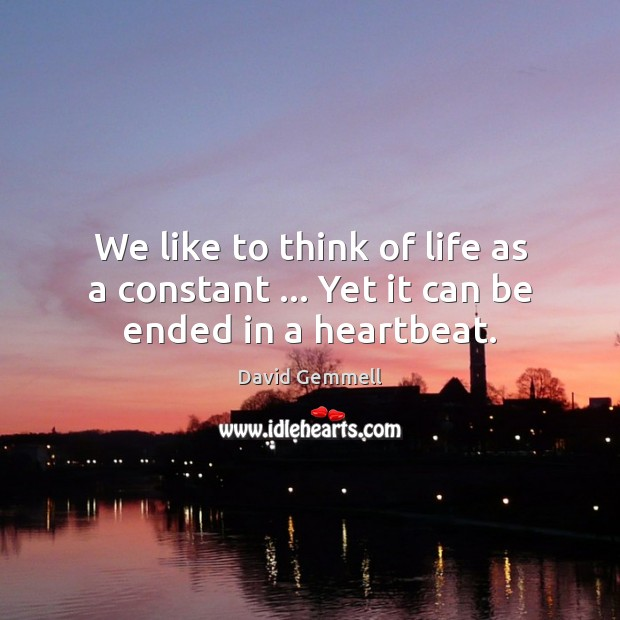 We like to think of life as a constant … Yet it can be ended in a heartbeat. David Gemmell Picture Quote
