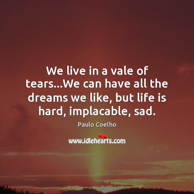 We live in a vale of tears…We can have all the Life is Hard Quotes Image