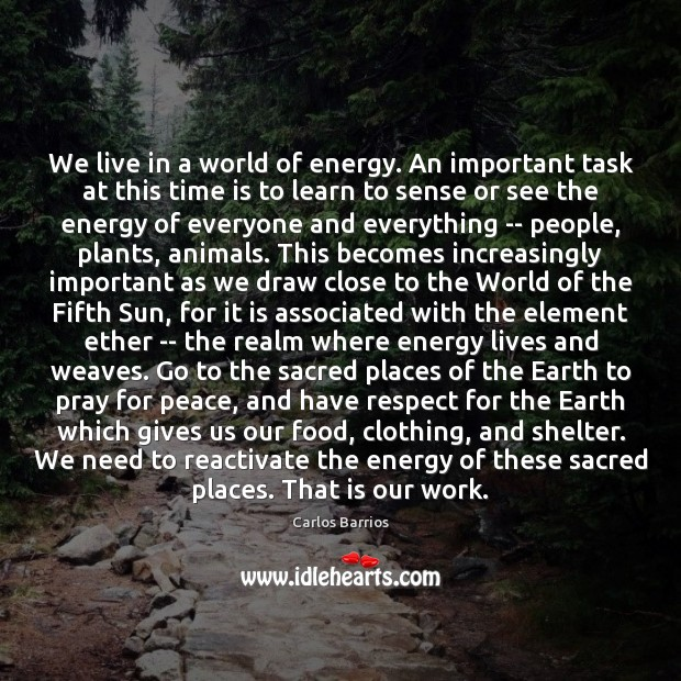 We live in a world of energy. An important task at this Image