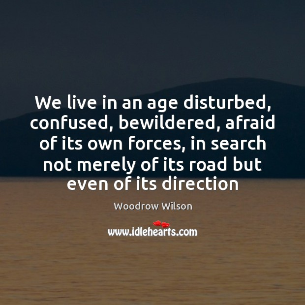 We live in an age disturbed, confused, bewildered, afraid of its own Woodrow Wilson Picture Quote