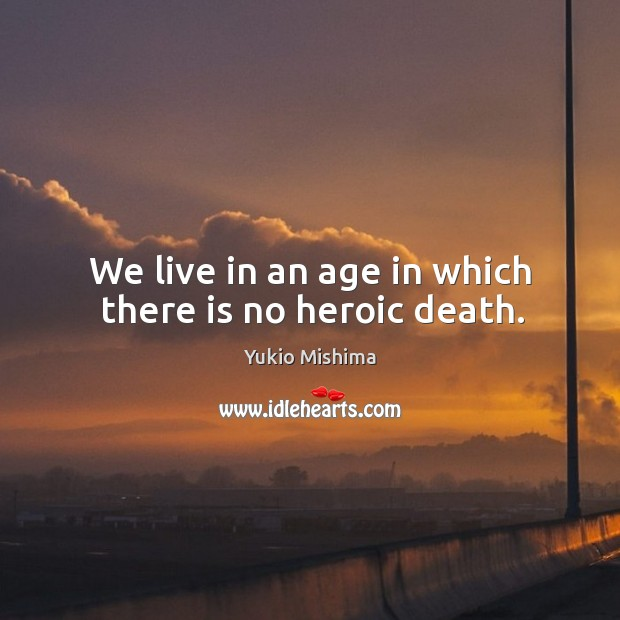 We live in an age in which there is no heroic death. Image