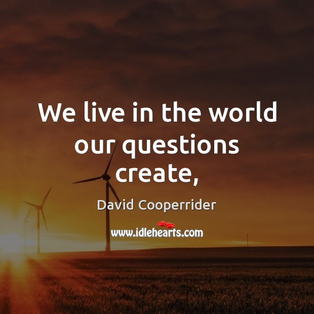 We live in the world our questions create, Image