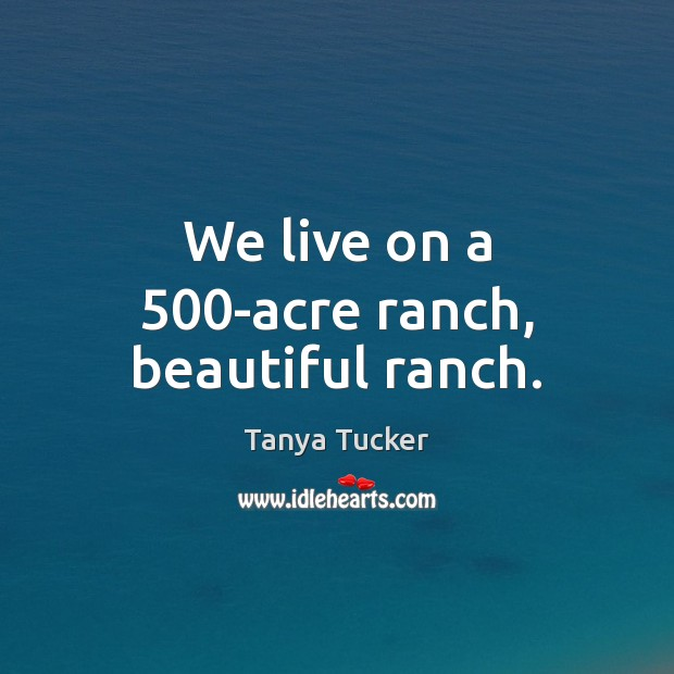 We live on a 500-acre ranch, beautiful ranch. Image