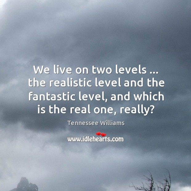 We live on two levels … the realistic level and the fantastic level, Image