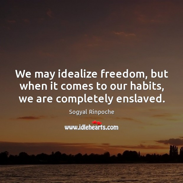 We may idealize freedom, but when it comes to our habits, we are completely enslaved. Sogyal Rinpoche Picture Quote