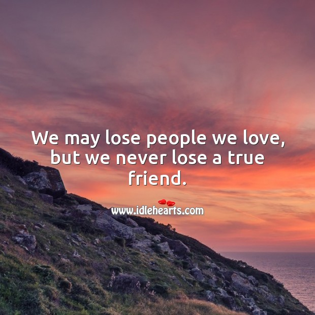 We may lose people we love, but we never lose a true friend. True Friends Quotes Image
