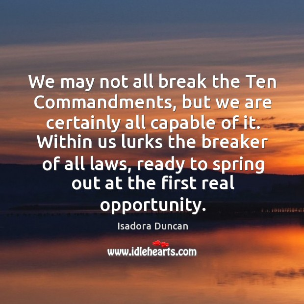 Image, We may not all break the ten commandments