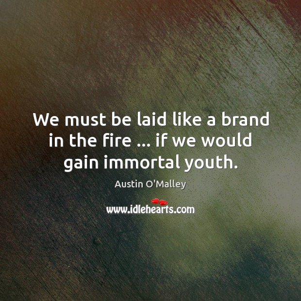 We must be laid like a brand in the fire … if we would gain immortal youth. Austin O'Malley Picture Quote